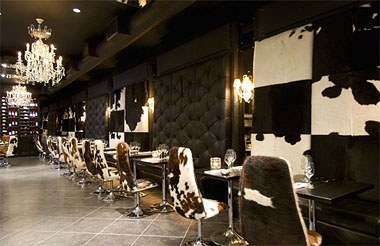 Interior of Gaucho restaurant in Hampstead